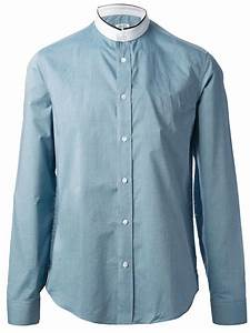 Lyst - Kenzo Band Collar Shirt in Blue for Men