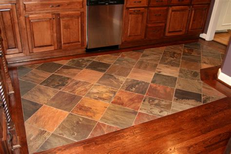 tile or wood floors in kitchen how did you transition between the wood and tile 9469