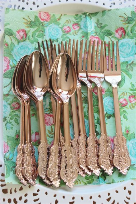 shabby chic crockery 360 assorted faux copper cutlery plastic forks spoons knives tableware rose gold vintage style