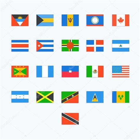 Észak-amerikai ország zászlók. Vector ikonok — Stock ...