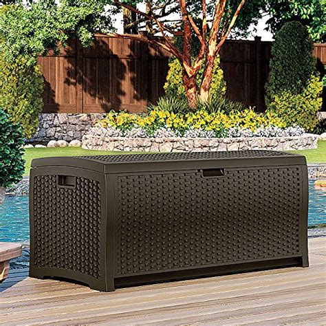 suncast dbw9935 resin rattan deck box 122 gallon deck boxes patio and furniture