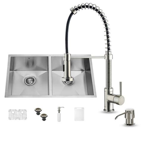 vigo undermount stainless steel kitchen sink vigo all in one undermount stainless steel 32 in 9577
