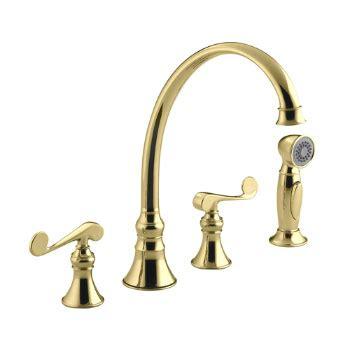 kohler revival kitchen faucet kohler k 16109 4 pb revival two handle kitchen faucet polished brass faucetdepot com
