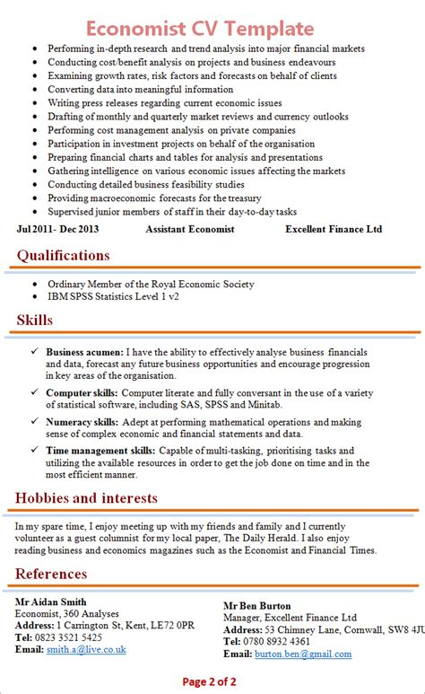 Cv Template Phd Economics by Economist Cv Template 2