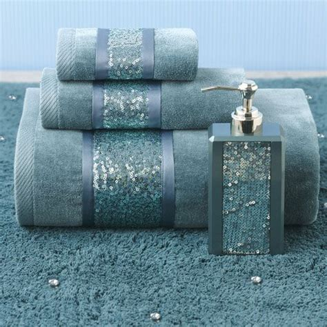 Aqua Colored Bathroom Accessories by Croscill Sequin Shimmer Teal Bath Collection Color
