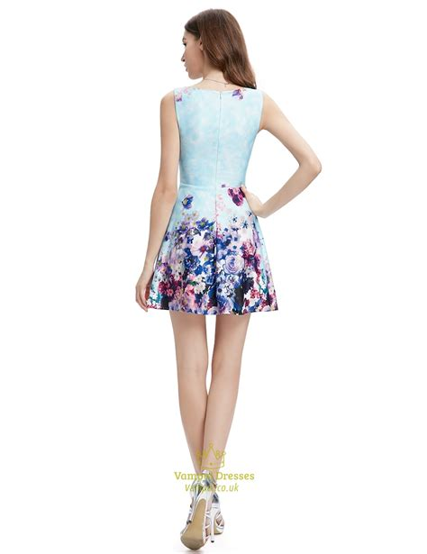 light blue floral dress light blue summer floral print skater dress for ladies