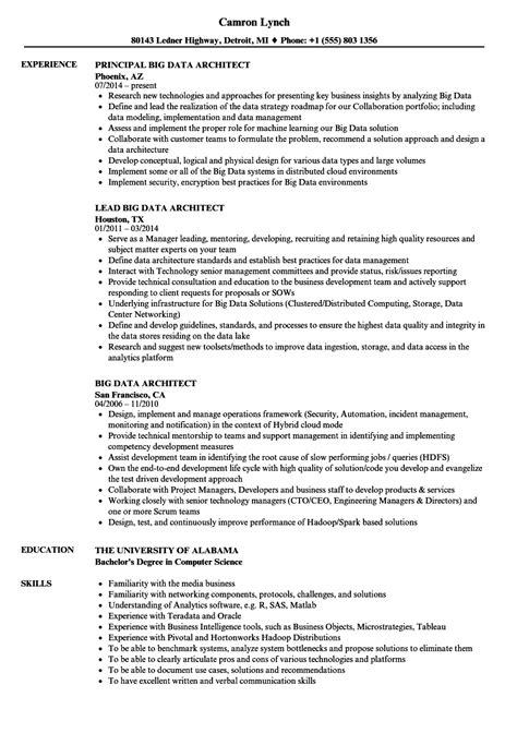 Data Architect Resume by Big Data Architect Resume Sles Velvet