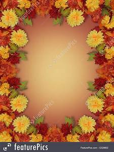 Thanksgiving Fall Leaves And Flowers Border Illustration