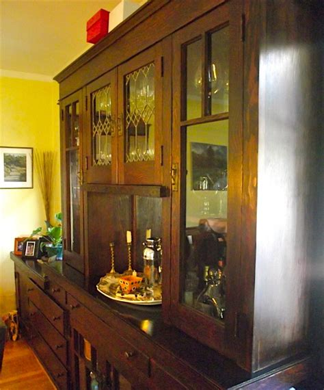 nice  built  china cabinet great leaded glass