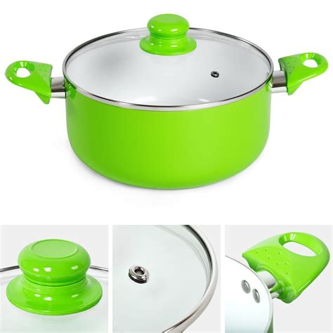 pcs cooking evenly press aluminum healthy ceramic coated cookware set