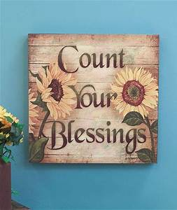 COUNT YOUR BLESSINGS 16quot Sunflower Wall Art Wooden Decor