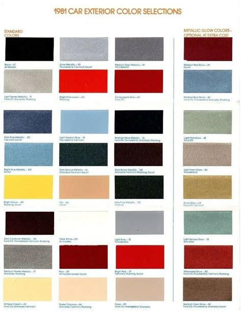 1981 ford color paint brochure chart mustang thunderbird