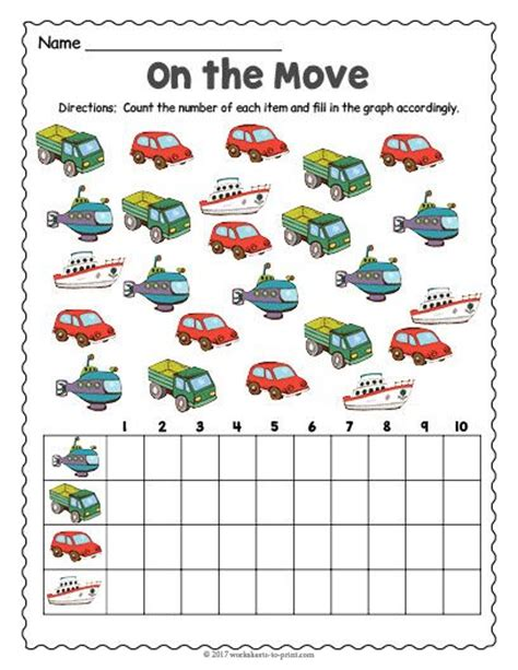 free printable transportation count and graph worksheet