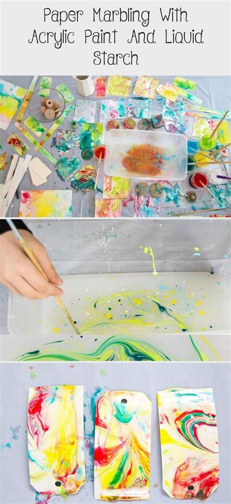 paper marbling  acrylic paint  liquid starch pin