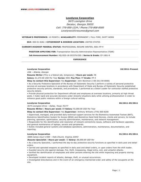 Federal Resume Sles by Lovelyree Federal Government Resumes
