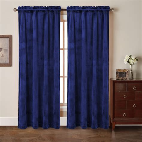 comforhome solid soft velvet window curtain with liner rod
