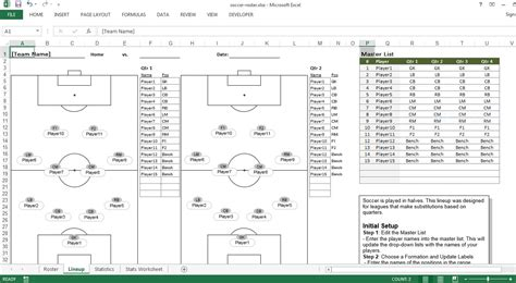 soccer roster  excel template excel templates