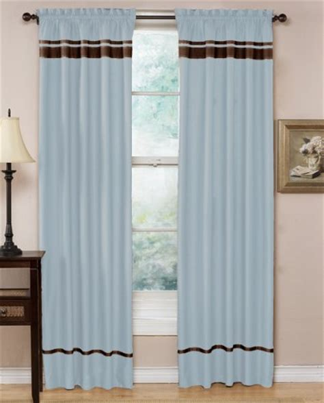 hotel spa collection curtains blue and chocolate stripe