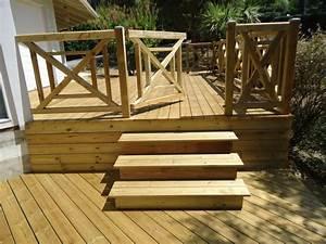 Balustrade En Bois : pose terrasse bois sur pilotis dans les landes terrasse ~ Melissatoandfro.com Idées de Décoration