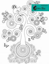 Coloring Spiral Tree Adult Single Colouring Chakra Books Mandala I1 sketch template