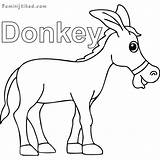 Donkey Coloring Printable Animal Donkeys Sheets sketch template