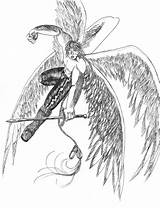 Warrior Angel Drawings Becuo Credit Larger Coloring sketch template