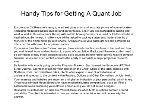 quantitative analyst skills