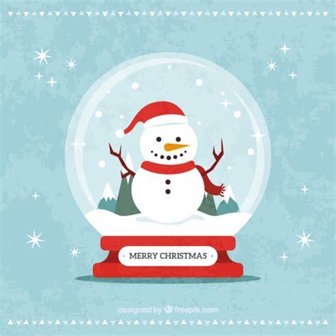decorative snowglobe christmas card  snowman  vector