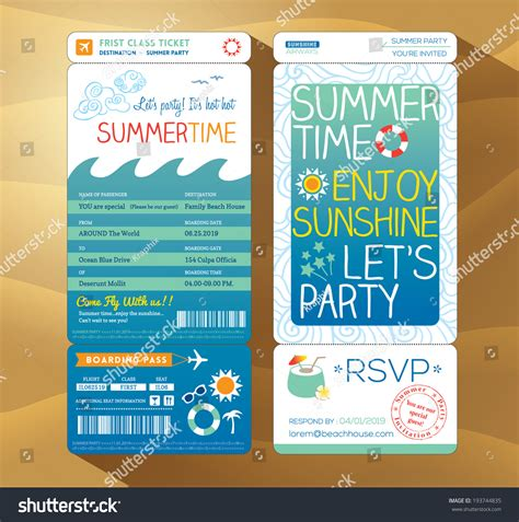 summertime holiday party boarding pass background stock