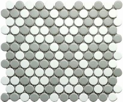 Penny Mosaic Round Tile Grey Gray Matte