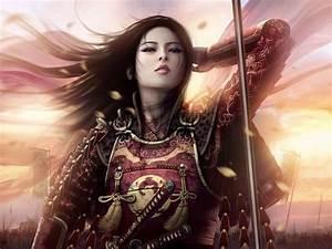 Woman Warrior Women Sunsets Samurai Armor Asians Artwork ...