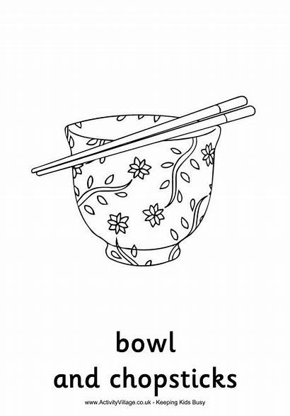 Coloring Chinese Colouring Pages Chopsticks Bowl China