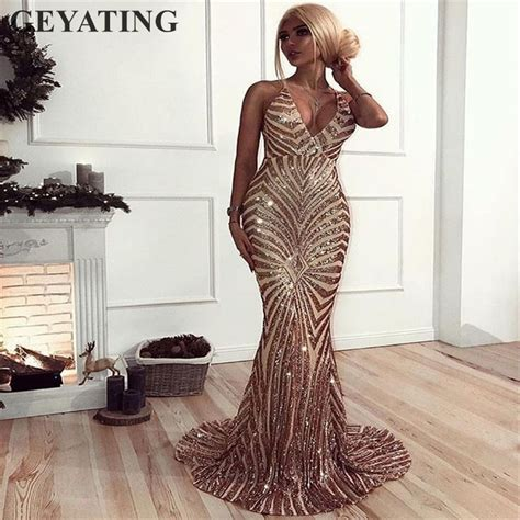 sexy rose gold sequin backless prom dresses mermaid