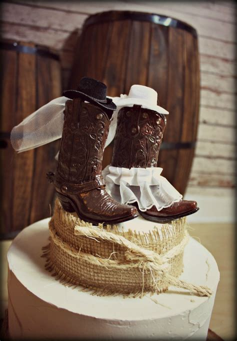 Cowboy Boots Wedding Cake Topper Western Themed