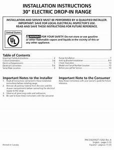Frigidaire Ffed3015pwa Installation Instructions Manual