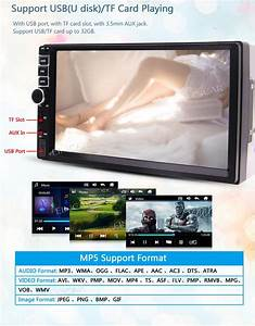 Car Mp5 Player Double Din Car Stereo Radio 7 U0026 39  U0026 39  Car Audio Front Aux Usb  Tf Card Bluetooth Fm