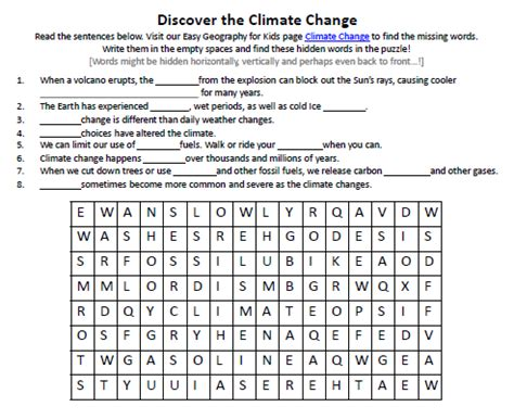Image Of Climate Change Worksheet  Printable Activity Sheet For Kids  Easy Science For Kids