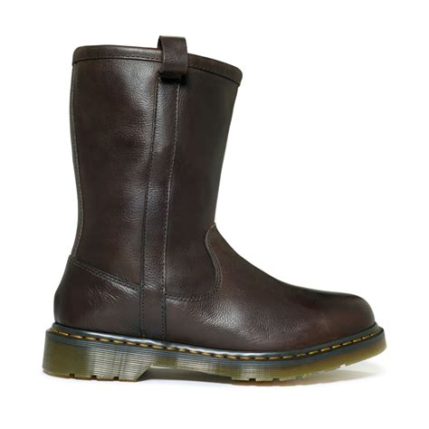 dr martens idris rigger boots  brown  men dark brown lyst