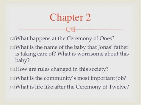summary of the book the giver chapter 2 sle outline