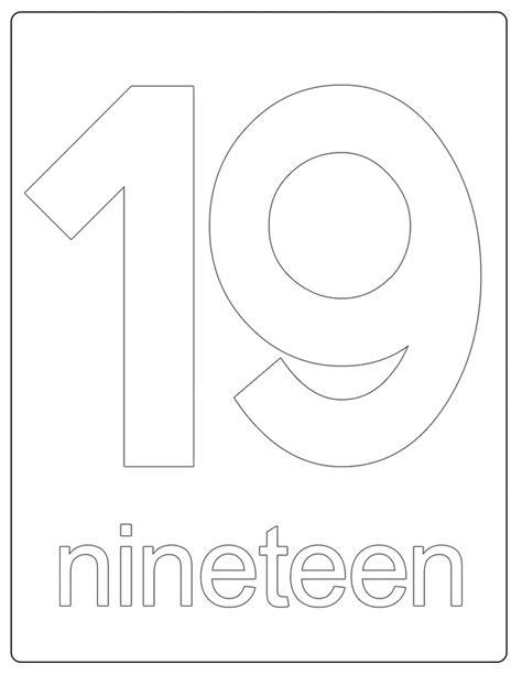 page 19 printable numbers number 19