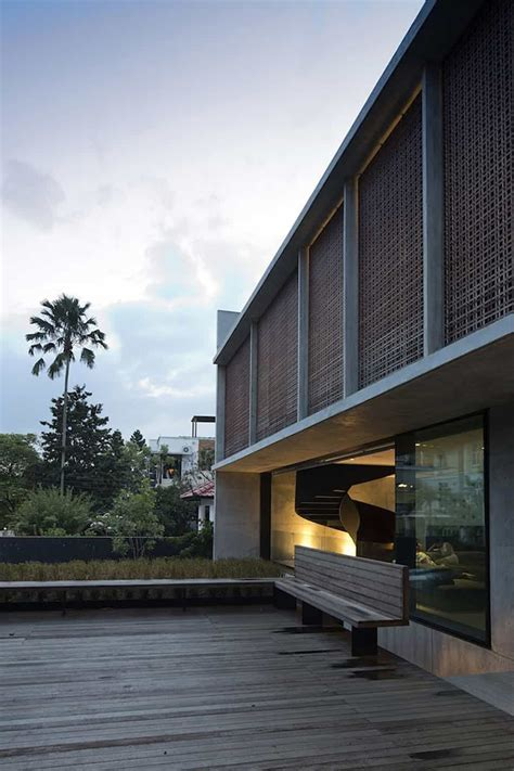 courtyard house open  outdoors  sculptural staircase