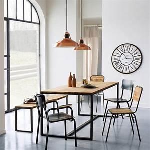 Table salle a manger metal et bois digpres for Meuble salle À manger avec chaise salle a manger metal