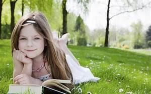Cute Little Blue Eyes Girl Reading Book HD Wallpaper ...