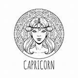 Capricorn Zodiac Coloring Horoscope Symbol Printable Adult Vektorillustration Zodiaco Calendar Steenbok Capricorne Zodiaque Symbole Signe Adulta Ragazza Materiale Colorare Illustrativo sketch template