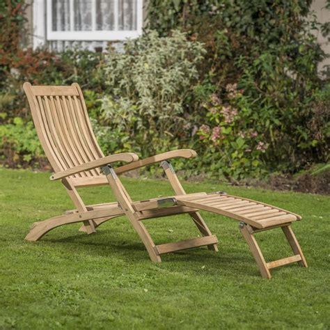 rhs wisley teak steamer chair   garden