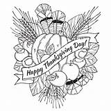 Coloring Pages Thanksgiving Adults Popular sketch template