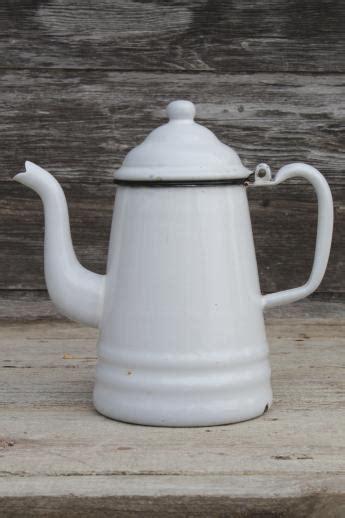 primitive vintage enamelware coffeepot, six cup white
