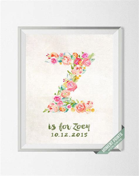 personalized print zoey custom name from momentprints on etsy