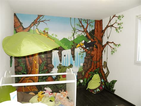 deco chambre bebe theme jungle lit jungle