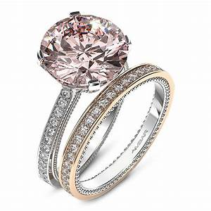 Engagement ring pink diamond with bead detail for Pink diamond wedding rings